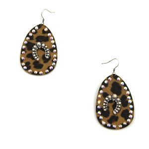 Earring 3565b 18 Treasure tear drop rhinestone leopard earrings arc silver ab