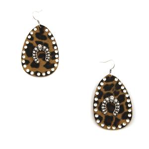 Earring 3517c 18 Treasure tear drop rhinestone leopard earrings arc silver