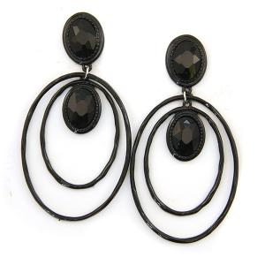 Earring 4570 18 Treasure stud gem dangle hoop earrings black black