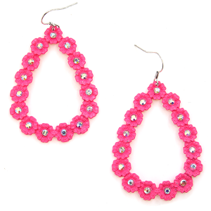 Earring 820e 18 Treasure tear drop rhinestone floral hoop earrings neon pink