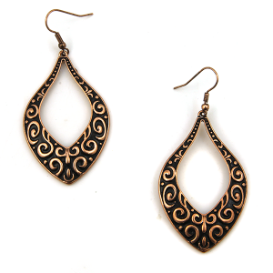Earring 3413b 18 Treasure filigree tear drop copper