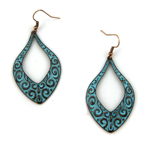 Earring 3367b 18 Treasure filigree tear drop patina