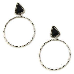 Earring 1927i 18 Treasure stud navajo hoop earrings triangle stone black