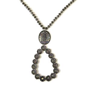 Necklace 883 18 Treasure tear drop bead rhinestone necklace gray
