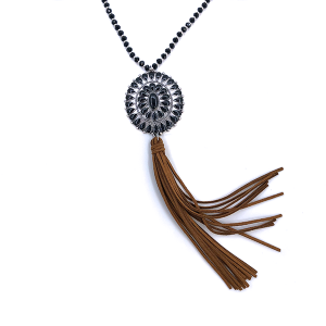 Necklace 794 18 Treasure concho bead necklace black browntassel