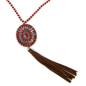 Necklace 1064 18 Treasure bead concho tassel necklace red