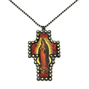 Necklace 1662 18 Treasure rhinestone leather virgin mary necklace cross patina