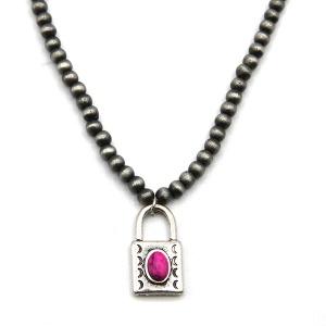 Necklace 381f 18 Treasure bead lock navajo necklace choker pink