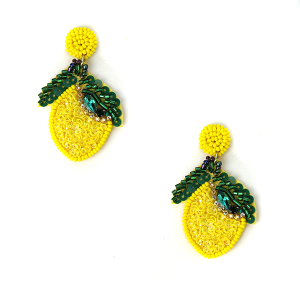 Earring 536d 18 Treasure seed bead lemon earrings