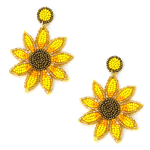 Earring 091h 18 Treasure sunflower earrings seed bead