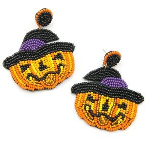Earring 1332f 18 Treasure stud dangle pumpkin halloween earrings