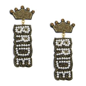 Earring 2993c 18 Treasure seed bead stud dangle crown bride earrings