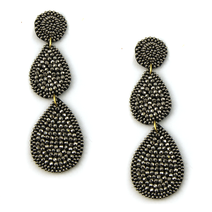 Earring 3349a 18 Treasure seed bead tear drop stud dangle earrings hematite