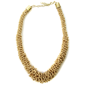 Necklace 443d 18 Treasure seed bead collar necklace beige