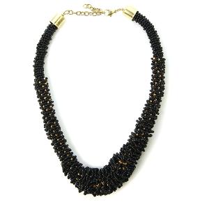 Necklace 433a 18 Treasure seed bead collar necklace black