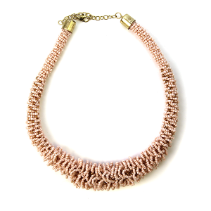 Necklace 447a 18 Treasure seed bead collar necklace b-pink