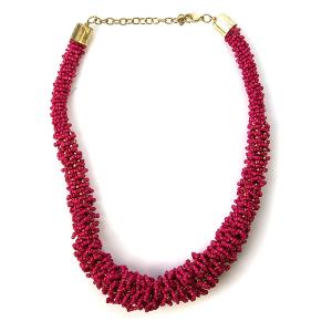 Necklace 415d 18 Treasure seed bead collar necklace fuchsia