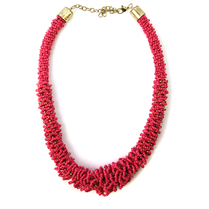 Necklace 458b 18 Treasure seed bead collar necklace n-pink