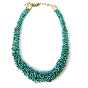 Necklace 467a 18 Treasure seed bead collar necklace turquoise