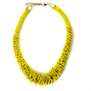 Necklace 369a 18 Treasure seed bead collar necklace yellow