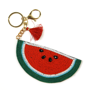Keychain 213a 18 Treasure seed bead watermelon keychain