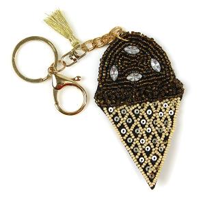 Keychain 224 18 Treasure seed bead ice cream keychain brown