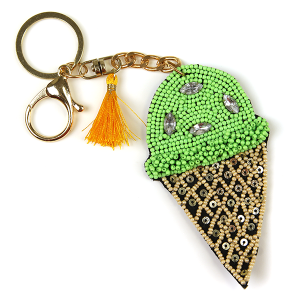 Keychain 223 18 Treasure seed bead ice cream keychain green