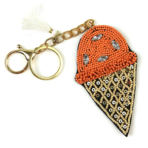 Keychain 222 18 Treasure seed bead ice cream keychain orange