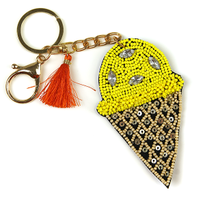 Keychain 221a 18 Treasure seed bead ice cream keychain yellow