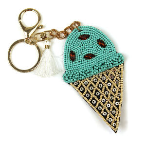Keychain 225 18 Treasure seed bead ice cream keychain turquoise