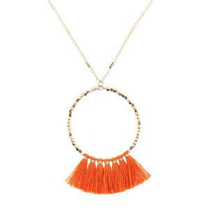 Fringe fan hoop necklace orange
