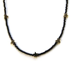 Necklace 323f 21 Dorothy bead chocker necklace star black