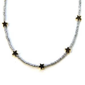 Necklace 280a 21 Dorothy bead chocker necklace star gray