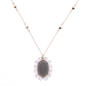 Necklace chain hexagon crystal border gray [1719 22 No.3]