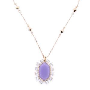 Necklace chain hexagon crystal border purple [1717 22 No.3]