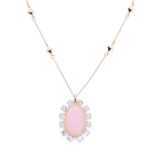 Necklace chain hexagon crystal border pink [1716 22 No.3]