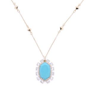 Necklace chain hexagon crystal border turquoise [1726 22 No.3]