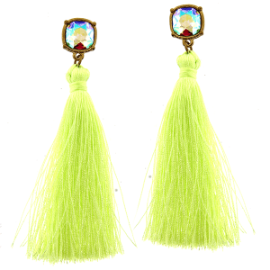 Earring 3484d 22 No.3 fringe tassel drop neon yellow