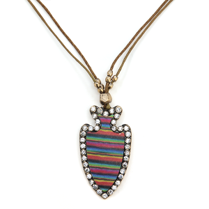 Necklace 667 22 FJ string arrowhead serape rhinestone necklace brown multicolor