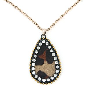 Necklace 072c 22 No. 3 tear drop leather rhinestone brown