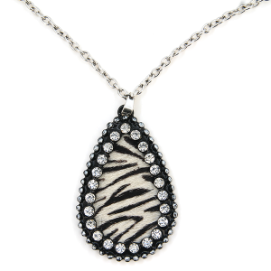 Necklace 101e 22 No. 3 tear drop leather rhinestone zebra silver black white