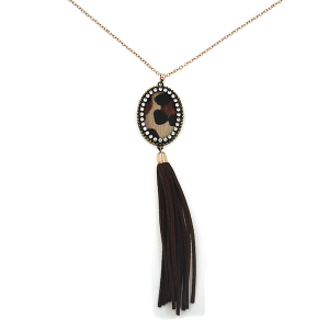Necklace 566a 22 No. 3 oval tg tassel gold brown