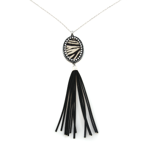 Necklace 438d 22 No. 3 oval zebra tassel silver black