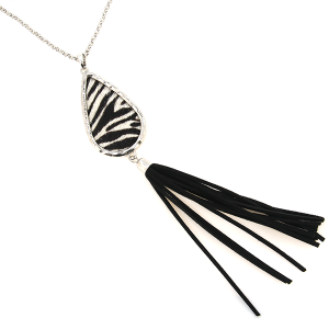 Necklace 148b 22 No. 3 tear drop tassel zebra silver black white