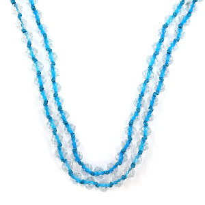 Necklace 1942 22 No. 3 30-60 inch bead necklace clear blue string