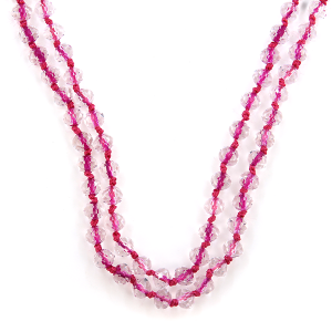 Necklace 1941 22 No. 3 30-60 inch bead necklace clear pink string