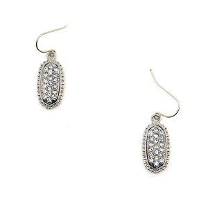 Earring 185d 22 No. 3 Small Hex Rhinestone silver