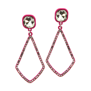 Earring 2961 22 No.3 gem tear drop rhinestone pink
