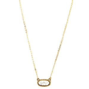 Necklace 1217a 22 No.3 hex raw druzy stone gold white