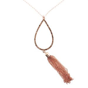 (Necklace 247 22 No. 3) Tear drop chain tassel rose gold